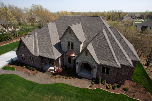 Drone shot of beautiful roof using tamko shingles from gold standard restorations the best roofers in st charles using tamko roofing products