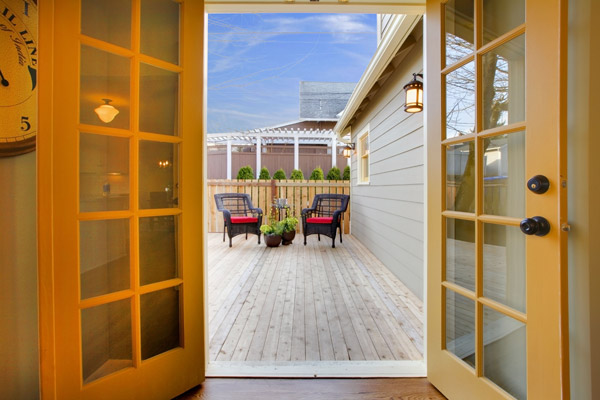New exterior french doors with new deck beautiful outdoor living space by gold standard restorations the best roofers in fox river grove illinois