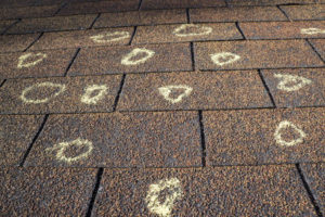 Roof inspector marks hail damage with chalk on roof after hail storm by gold standard restorations the best roofers in kildeer illinois