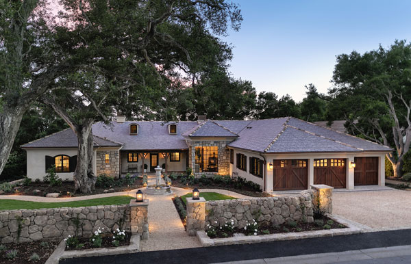 Home using grey da vinci shingles and stone as an accent from gold standard restorations the best roofers in libertyville illinois